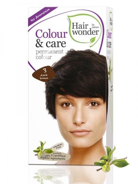 HAIRWONDER Přírodní dlouhotrvající barva BIO TMAVÁ HNĚDÁ 3 Objem 1 balení