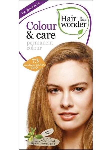 HAIRWONDER Přírodní dlouhotrvající barva BIO STŘEDNĚ ZLATÁ BLOND 7.3 Objem 1 balení