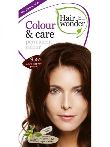 HAIRWONDER Přírodní dlouhotrvající barva BIO TMAVĚ MĚDĚNÁ HNĚDÁ 3.44 Objem 1 balení
