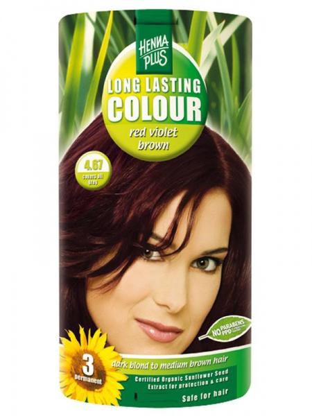 HENNA PLUS Dlouhotrvající barva ČERVENĚ FIALOVÁ HNĚDÁ 4.67 Objem 1 balení