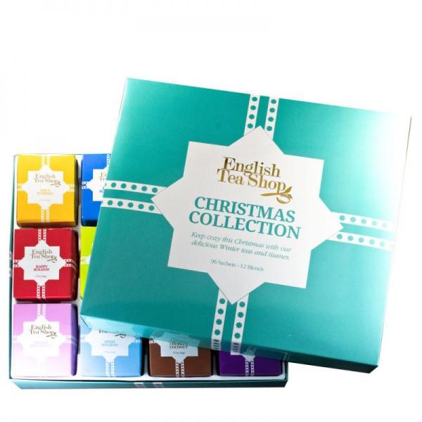 ENGLISH TEA SHOP Dárková kolekce v plechové kazetě - Modré Vánoce čaje 1 set - 72 ks