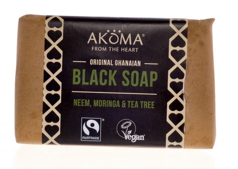 AKÖMA Černé mýdlo s Tea Tree Objem 70 g