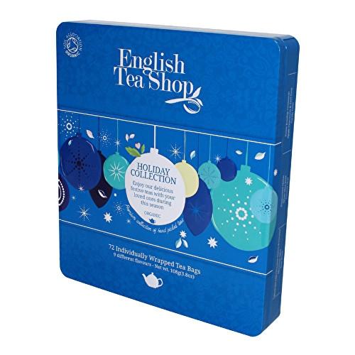 ENGLISH TEA SHOP Dárková kolekce v plechové kazetě - Modré ozdoby čaje 1 set - 72 ks
