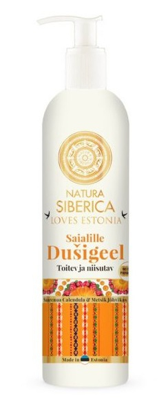 NATURA SIBERICA Loves Estonia Měsíčkový sprchový gel Hydratace a výživa Objem 400 ml, dávkovač