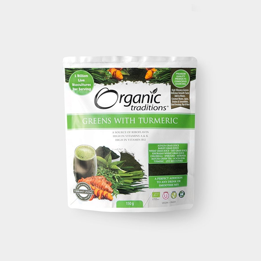 ORGANIC TRADITIONS Super Greens s kurkumou Objem 150 g