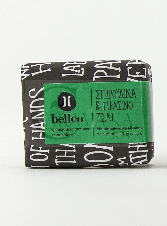 HELLEO 100% natural olivové mýdlo - Spirulina a zelený čaj Objem 30 g