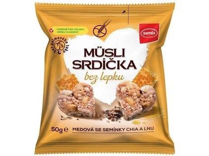 SEMIX Musli srdíčka bez lepku medová se semínky chia a lnu Objem 50 g