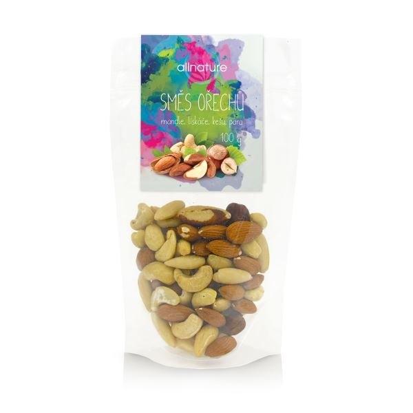 ALLNATURE Směs ořechů (mandle, lískové, kešu, para) Objem 100 g