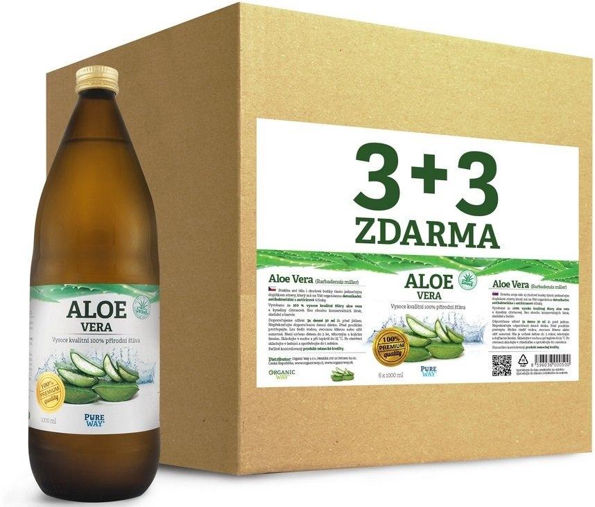 PURE WAY Aloe vera 100% šťáva premium quality Objem 6 x 1000 ml AKCE 3+3