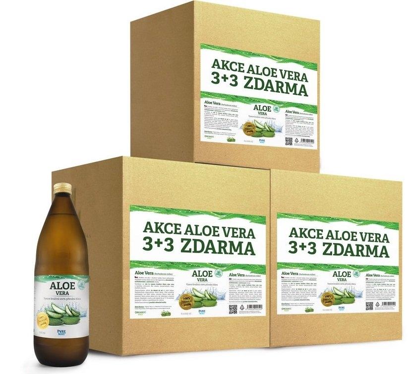 PURE WAY Aloe vera 100% šťáva premium quality Objem 18 x 1000 ml 3 kartony - výhodná cena