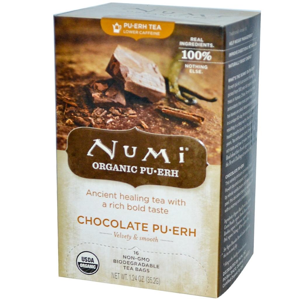 NUMI TEA Čaj BIO Pu-Erh s čokoládou čaje 16 x 2,2 g