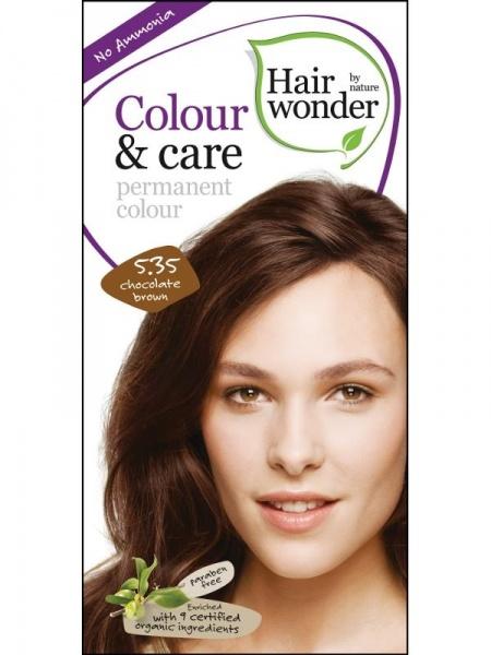HAIRWONDER Přírodní dlouhotrvající barva BIO ČOKOLADOVĚ HNĚDÁ 5.35 Objem 1 balení