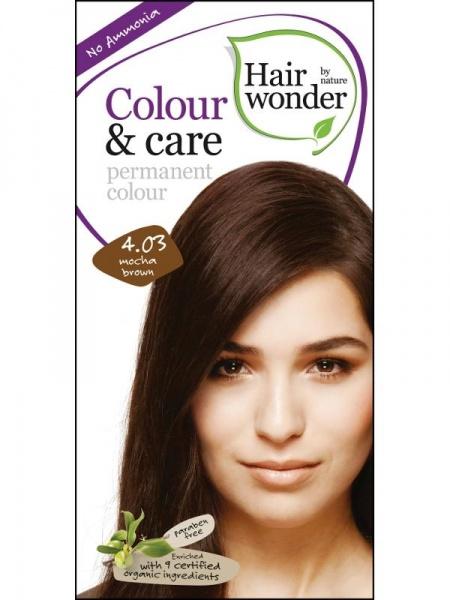 HAIRWONDER Přírodní dlouhotrvající barva BIO MOCCA HNĚDÁ 4.03 Objem 1 balení