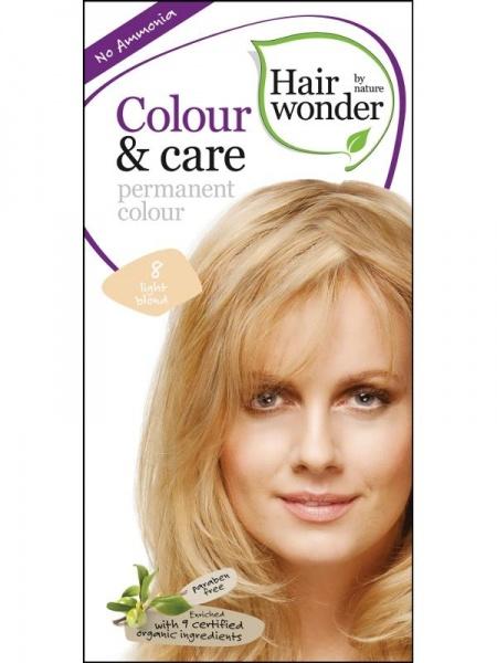 HAIRWONDER Přírodní dlouhotrvající barva BIO SVĚTLÁ BLOND 8 Objem 1 balení