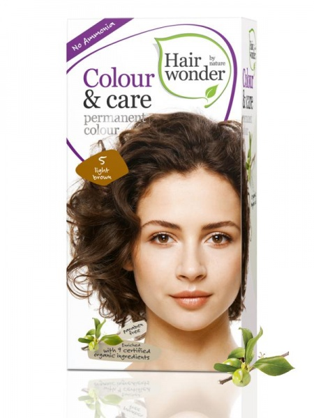 HAIRWONDER Přírodní dlouhotrvající barva BIO SVĚTLÁ HNĚDÁ 5 Objem 1 balení