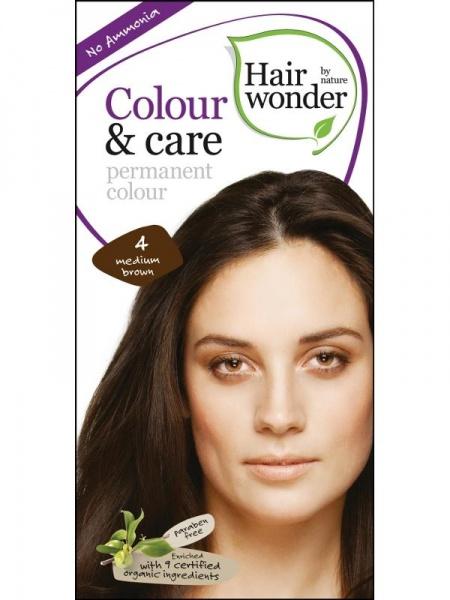HAIRWONDER Přírodní dlouhotrvající barva BIO STŘEDNĚ HNĚDÁ 4 Objem 1 balení